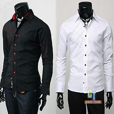 Trendy Mens Casual Button Down Slim Fit Long Sleeve Casual Formal Dress Shirts