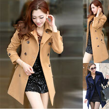 Womens Fashion Thin Trench Double Breasted Casual Fall Wool Blend Ladies Coats