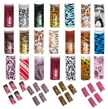 70 pcs Acrylic French False Nail Art Tips Glitter Animal Print Fashion Patterns