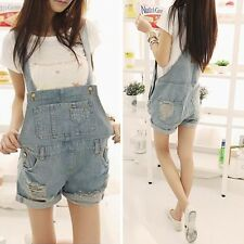 Women Girls Washed Jeans Denim Torn Cool straps shorts Jumpsuits Romper Overall
