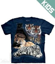 The Mountain Big Cat Collage Lion Tiger Panther Blue Child Kid T-Shirt S,M,L,XL