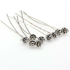 Usable Korean Antique Silver Golden Tone Long Head Pins Finding 20pcs Jewelry