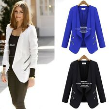 Womens Business long Sleeve Slim Zip Blazer Suit Jacket Coat Casual Outerwear