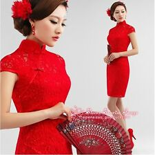 FS238 Red Chinese's Cheongsam Formal Evening Prom Party Mermaid Dress Ball Gown