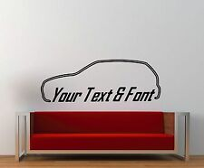 1x Large Custom YOUR TEXT Vayxhall Opel Corsa C SRi Wall sticker