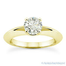 1.00ct Round Cut Moissanite 4-Prong Solitaire Engagement Ring in 14k Yellow Gold