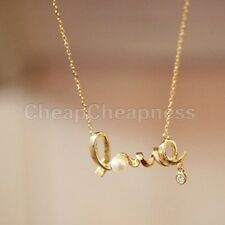 Trendy Style Women Lady Clear Crystal White Pearl Love Pendant Chain Necklace
