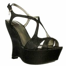 G by Guess Saleena Open Toe Wedge Sandal - Black