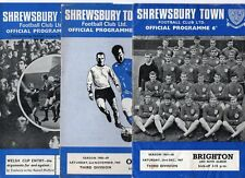 Shrewsbury Town HOME programmes 1967/68 to 1969/70 FREE P&P UK Choose from list