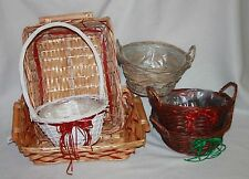 wicker Christmas hamper basket round or  tray red natural  ribbon choose