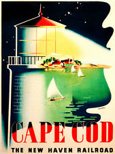 7709.Cape cod.light house.bay with sailboats.small town.POSTER.art wall decor