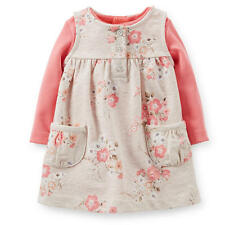 Carter's Girls 2 Piece Floral Printed French Terry Jumper & Pink Bodysuit Set