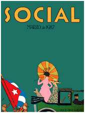7829.Social.Woman riding in car umbrella and cuban flag.POSTER.art wall decor