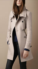 NWT Burberry Brit Double Breasted Funnel Neck Wool Trench Coat Jacket