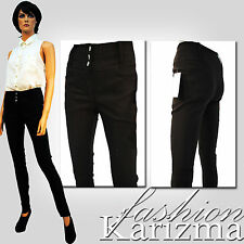 LADIES STRETCH HIGH RISE WAISTED SLIM FITTED BLACK TROUSER W BUTTONS 6 - 16 C10