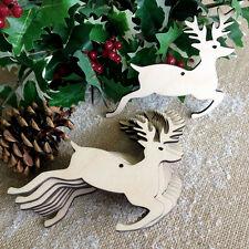 Wooden CHRISTMAS REINDEER Stag Craft Blank Decorations Shapes Gift Tags x10