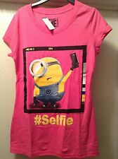 DESPICABLE ME 2 Womens Juniors Pink Minions Selfie #Selfie Tee T Shirt S-XL New