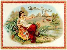 8150.Fabrica de tabacos.partagas.woman sitting on shield.POSTER.art wall decor