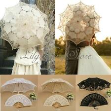 Ivory Lace Handmade Hand Fan Parasol Umbrella Wedding Bridal Party 3 Color