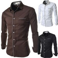 Fashion Luxury Mens Long Sleeve Button Down Dress Casual Shirts Stylish New Tops