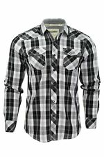 Mens Shirt Fashion Dissident 'Danzie Seager Enrik' Check Long Sleeved Roll Up