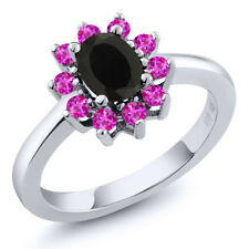 1.18 Ct Oval Black Onyx Pink Sapphire 925 Sterling Silver Ring
