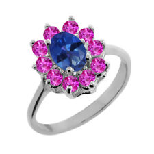 1.45 Ct Oval Royal Blue Mystic Topaz Pink Sapphire 18K White Gold Ring