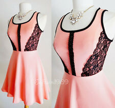 NEW Coral Pink Black Contrast Lace Inset Trim Fit & Flare HOT Party Skater Dress