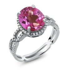 3.85 Ct Oval Pink Mystic Topaz White Created Sapphire 925 Sterling Silver Ring