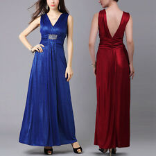 Donna Bella Sexy V Neck Empire Waist Sleeveless Lurex Formal Party Evening Dress