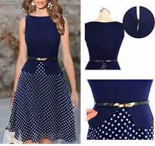 New Fashion Women Lady Belted Chiffon Polka Dot Crew Neck Sleeveless Dress Hot