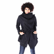 AI29 Ladies Stylish Belted Drape Wrap Coat Womens Casual  Winter Outwear Jacket