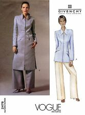 Vogue Alexander McQueen Givenchy Jacket & Wide-leg Pants Sewing Pattern 2478 OOP