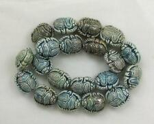 "Raku Ceramic Beads, 1/2"" Scarab Design, New"