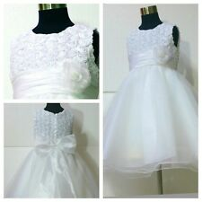 White Christening Wedding Flower Girls Dresses AGE SIZE 1-2-3-4-5-6-7-8-9-10-12Y