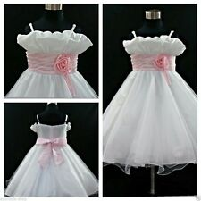 P818 Pink White Christening Event Wedding Flower Girls Party Dreses AGE 1 to 12Y
