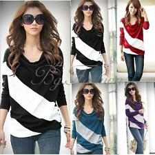 Women Girl Loose Casual Blouse T Shirt Tee Striped Batwing long Sleeve Tops S-XL