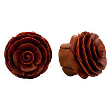 """0g-1"""" PAIR ORGANIC Intricate Carved Double Flared Flesh Wood Flower Plugs Ear"""