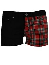 New Red Tartan and Black Split Leg Hotpants Exclusive To Grindstore