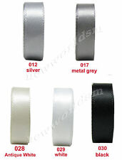 "15yds 3mm 1/8"" Grey White Black Double Sided Satin Ribbon All Occasions Eco"