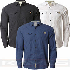 Mens Shirt Dissident Casual Cotton Shirt Long Roll Up Sleeves 'Creed' 1H 4918