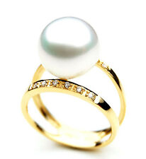SR010 (AAA 11mm Australian south sea White pearl Diamond Ring 18k gold)