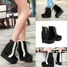 women's ankle boots lace up platform shoes rhinestone hidden wedge heels black