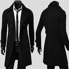 100% NEW Men's Stylish Trench Coat Winter Long Jacket Double Breasted Overcoats