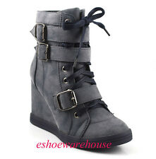 Navy Awesome Urban Chic Style Sneaker Wedge Ankle Boots Booties