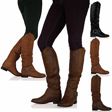 D9X WOMENS BOOTS LADIES KNEE HIGH ELASTICATED FLAT BUCKLE ZIP WINTER NEW SHOES
