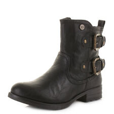 Womens Xti 27293 Black Leather Style Buckle Biker Short Ankle Boots Size