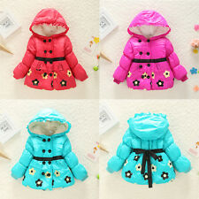 KIDS Baby Girls Flower Thicken Hooddie Winter Warm JACKET COAT Outwear Snowsuit