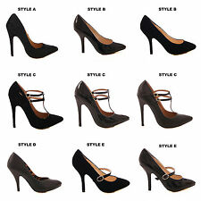 LADIES WOMENS BLACK COURT SHOES HIGH HEEL WORK FORMAL STILETTO SHOES SIZE