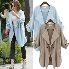 Womens Fold Sleeve Loose Long Coat Jacket Suit Blazer Casual Outerwear Cardigan